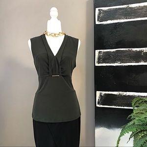 Ivanka Trump Olive Green Sleeveless Top Size L